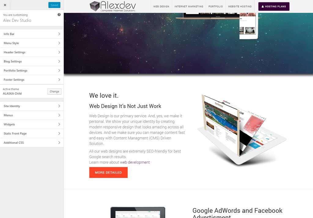 Wordpress customiser